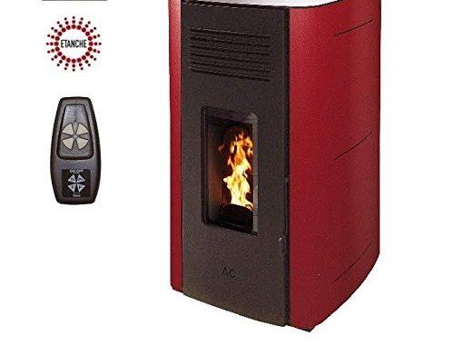 Poêle à Granules Hydro Elio Etanche 13kw Bordeaux Option Télécommande