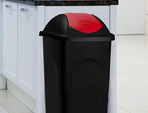 Poubelle 60 Litres Avec Couvercle Collecteur De Déchets Noir/rouge