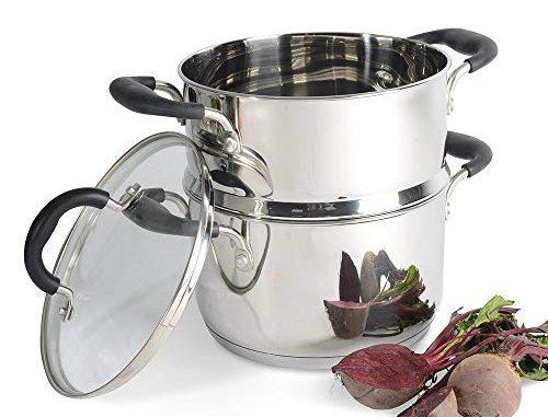 Procook Gourmet Stainless Steel Set Cuiseur Vapeur Inox Induction Marmite & 1 Panier Vapeur Inox Couvercle Verre Trempé Poignée Silicone Isolant 20cm / 2 Niveaux