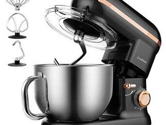 Robot Pâtissier, Cheflee 1090w Robot Pétrin Batteur électrique Robot Cuisine Multifonction Avec Kit Pâtisserie (fouet, Batteur, Crochet), Bol En Acier Inoxydable De 5.5 L, Couvercle, 6 Vitesses Noir