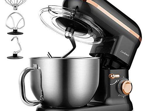 Robot Pâtissier, Cookmii 1090w Robot Pétrin Batteur électrique Robot Cuisine Multifonction Avec Kit Pâtisserie (fouet, Batteur, Crochet), Bol En Acier Inoxydable De 5.5 L, Couvercle, 6 Vitesses Noir