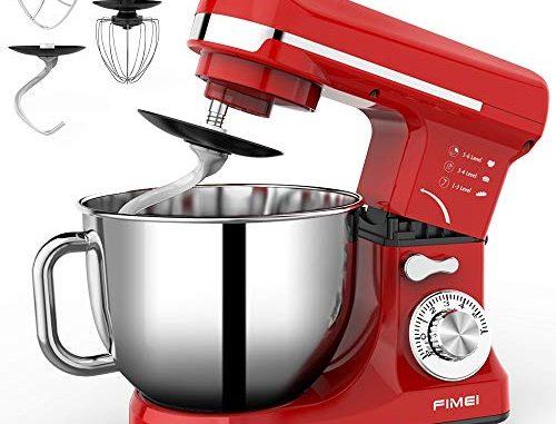 Robot Pâtissier, Fimei Robot De Cuisine Multifonction 1000w Robot Pétrin Professionnel Avec Bol D'acier Inox 6l, Robot Culinaire Avec Batteur, Crochet Et Fouet (rouge)