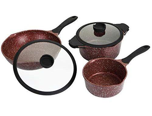 Rossetto Set De Wok 30cm +casserole 20cm+faitout 24cm Fonte Aluminium Gris Tous Feux Dont Induction