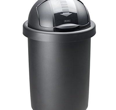 Rotho 1721308080 Poubelle Roll Bob 30l, Plastique, Noir, 45 X 35 X 25 Cm