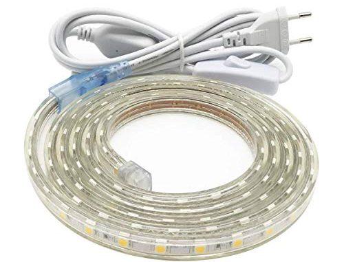 Ruban Led, Grande Luminosité Bandeau Led 220v Avec Interrupteur,5050 Ip65 étanche Strip Led, 3m Blanc Froid