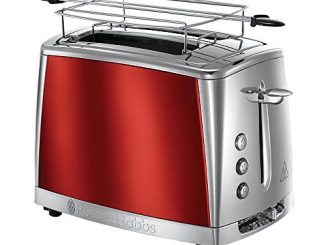 Russell Hobbs 23220 56 Toaster Grille Pain Luna, Cuisson Rapide, Contrôle Brunissage, Chauffe Viennoiserie Rouge