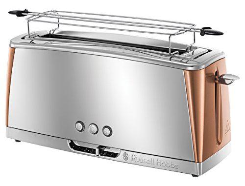 Russell Hobbs 24310 56 Toaster Grille Pain Luna, Spécial Baguette, Cuisson Rapide, Chauffe Viennoiserie Cuivre