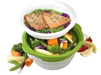 Salter Bw06259duosteam Saine Micro Ondes à Légumes, De La Viande Et Du Poisson Cuit Vapeur En Acier Carbone Avec Couvercle En Silicone, Vert