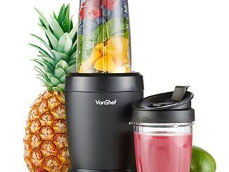Vonshef Personal Blender Multifonctionnel Puissant Smoothie Maker Et Mixer Pour Fruits, Légumes Shakes Et Glace Comprend 800ml Et 500ml Portable Cups 1000w
