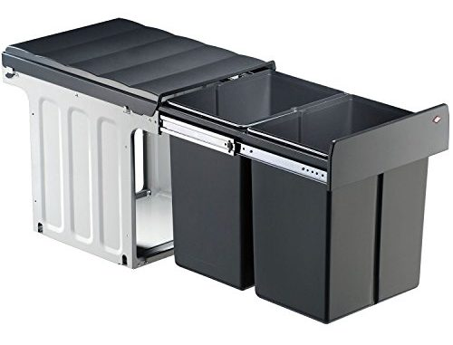 Wesco Profiline Double Master Maxi 40dt 887911 11 Poubelle Encastrable, 2bacs De 20l, 1pièce, Anthracite