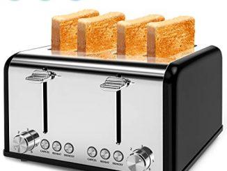 Grille Pain Noir Toaster, Grille Pain 4 Fentes, 6 Niveaux De Brunissage Réglable, 1600w Grille Pain Inox Extra Large Avec Décongeler Réchauffer Et Annuler +tiroirs De Ramasse Miettes Amovible (noir)