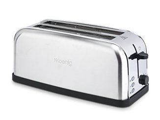 H.koenig Grille Pain Toaster Spécial Baguette 2 Tranches Tos28 Fentes Larges Inox Vintage, 7 Niveaux De Brunissage, Décongélation, Rapide Et Uniforme, Pain Et Viennoiserie, Nettoyage Facile, 1500w