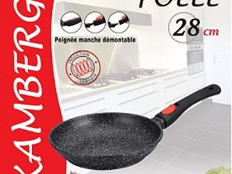 Kamberg 0008023 Poêle 28 Cm Manche Amovible Fonte D'aluminium Revêtement Type Pierre Tous Feux Dont Induction Sans Pfoa