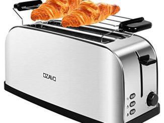 Ozavo Grille Pain Inox Baguette Automatique Toaster 4 Tranches Extra Large Fentes Croissant 1500w 7 Niveaux Ajustable Avec Plateau De Miettes Acier Argent