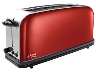 Russell Hobbs 21391 56 Toaster Grille Pain Colours, Fente Large Spécial Baguette, 6 Niveaux De Brunissage, Décongèle, Réchauffe Rouge