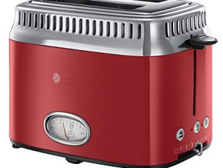 Russell Hobbs 21680 56 Toaster Grille Pain Retro, 3 Fonctions, Température Ajustable, Réchauffe Viennoiserie, Design Vintage Rouge