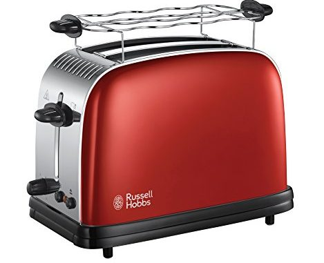 Russell Hobbs 23330 56 Toaster, Grille Pain Extra Large Colours Plus, Cuisson Rapide Et Uniforme, Contrôle Brunissage, Chauffe Viennoiserie Rouge