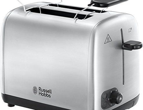 Russell Hobbs 24080 56 Grille Pain, Toaster Adventure, Cuisson Homogène, Contrôle Brunissage, Chauffe Viennoiserie Acier Brossé