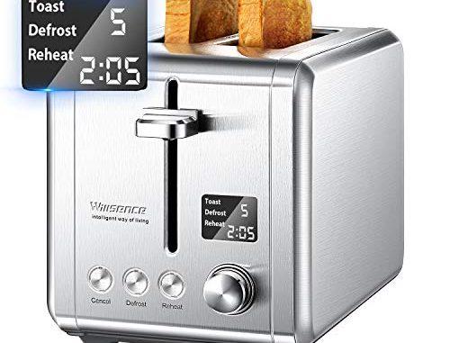 Willsence Grille Pain Lcd écran Toaster, 9 Niveaux De Brunisage Réglable, Fonction Annuler/décongeler/réchauffer Et Ramasse Miettes Amovible, 2 Fentes Extra Larges, Inox, 920w